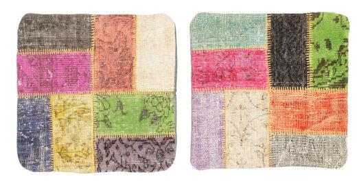 Patchwork Almofadas Tapete 50X50 Oriental Feito A Mão Quadrado Cinza Escuro/Luz Rosa (Lã, Turquia)