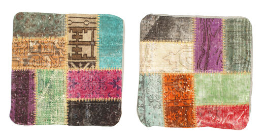 Patchwork Almofadas Tapete 50X50 Oriental Feito A Mão Quadrado Castanho Escuro/Verde Claro (Lã, Turquia)