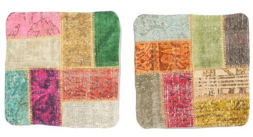 Patchwork Almofadas Tapete 50X50 Oriental Feito A Mão Quadrado Amarelo/Bege Escuro (Lã, Turquia)