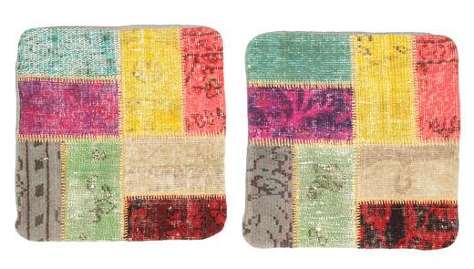 Patchwork Almofadas Tapete 50X50 Oriental Feito A Mão Quadrado Verde Claro/Laranja (Lã, Turquia)