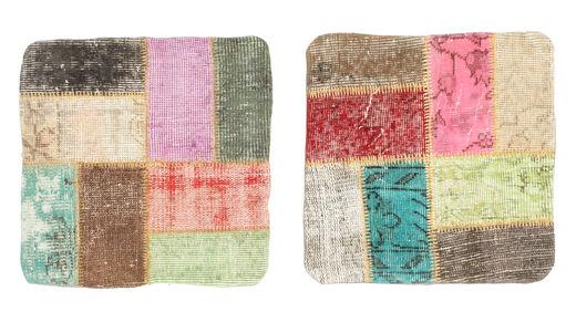 Patchwork Almofadas Tapete 50X50 Oriental Feito A Mão Quadrado Bege/Luz Rosa (Lã, Turquia)