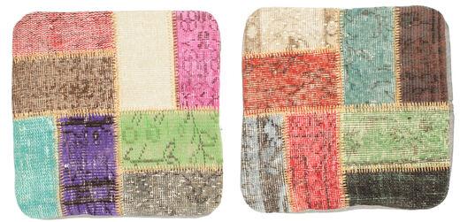Patchwork Almofadas Tapete 50X50 Oriental Feito A Mão Quadrado Luz Rosa/Castanho Claro (Lã, Turquia)