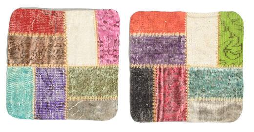 Patchwork Almofadas Tapete 50X50 Oriental Feito A Mão Quadrado Amarelo/Cinzento Claro (Lã, Turquia)