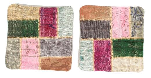 Patchwork Almofadas Tapete 50X50 Oriental Feito A Mão Quadrado Cinzento Claro/Cinza Escuro (Lã, Turquia)