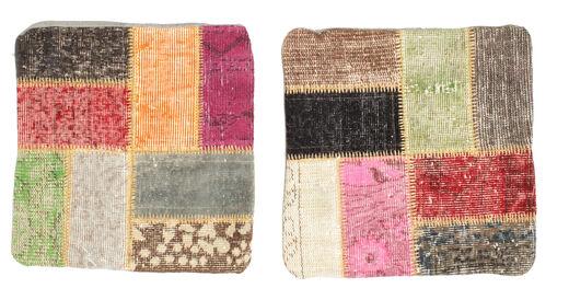 Patchwork Almofadas Tapete 50X50 Oriental Feito A Mão Quadrado Castanho Escuro/Castanho (Lã, Turquia)
