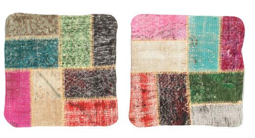 Patchwork Almofadas Tapete 50X50 Oriental Feito A Mão Quadrado Cinza Escuro (Lã, Turquia)