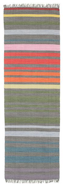 Rainbow Stripe - Cinzento Tapete 80X250 Moderno Tecidos À Mão Tapete Passadeira Cinza Escuro/Cinzento Claro (Algodão, Índia)
