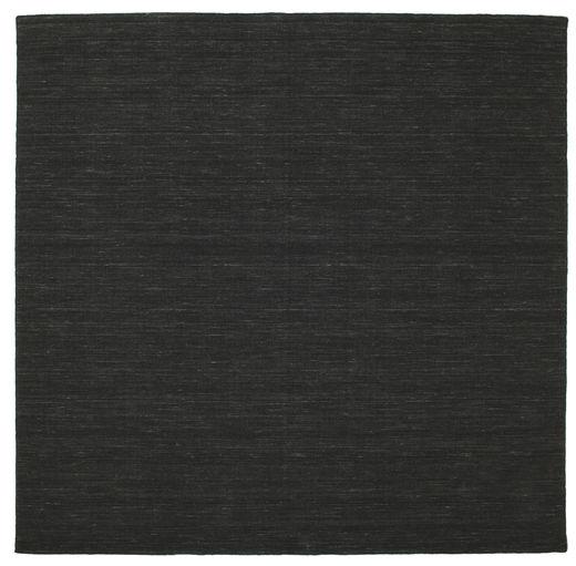 Kilim Loom - Preto Tapete 250X250 Moderno Tecidos À Mão Quadrado Verde Escuro Grande (Lã, Índia)