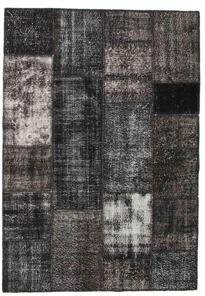 Patchwork Tapete 160X230 Moderno Feito A Mão Cinza Escuro/Preto (Lã, Turquia)
