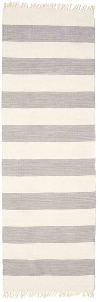 Cotton Stripe - Steel Grey Tapete 80X300 Moderno Tecidos À Mão Tapete Passadeira Cinzento Claro/Cinza Escuro (Algodão, Índia)