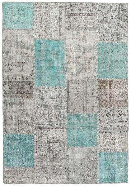 Patchwork Tapete 159X231 Moderno Feito A Mão Cinzento Claro (Lã, Turquia)