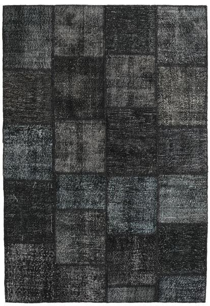 Patchwork Tapete 159X231 Moderno Feito A Mão Preto/Cinza Escuro (Lã, Turquia)