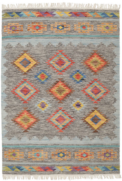 Spring Kilim Tapete 140X200 Moderno Tecidos À Mão Cinzento Claro/Bege Escuro (Lã, Índia)