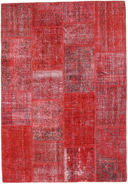 Patchwork Tapete 160X231 Moderno Feito A Mão Vermelho/Castanho Alaranjado (Lã, Turquia)