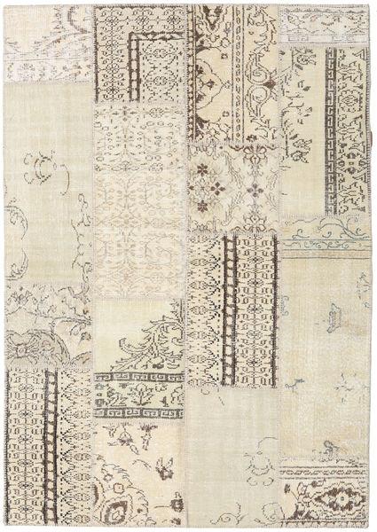 Patchwork Tapete 161X230 Moderno Feito A Mão Bege/Cinzento Claro/Bege Escuro (Lã, Turquia)