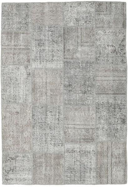 Patchwork Tapete 158X230 Moderno Feito A Mão Cinzento Claro (Lã, Turquia)