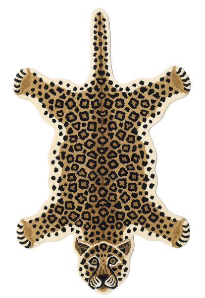 Leopard - Bege Tapete 100X160 Moderno Bege/Preto (Lã, Índia)