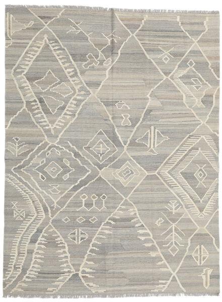 Kilim Moderno Tapete 180X235 Moderno Tecidos À Mão Cinzento Claro/Bege Escuro (Lã, Afeganistão)