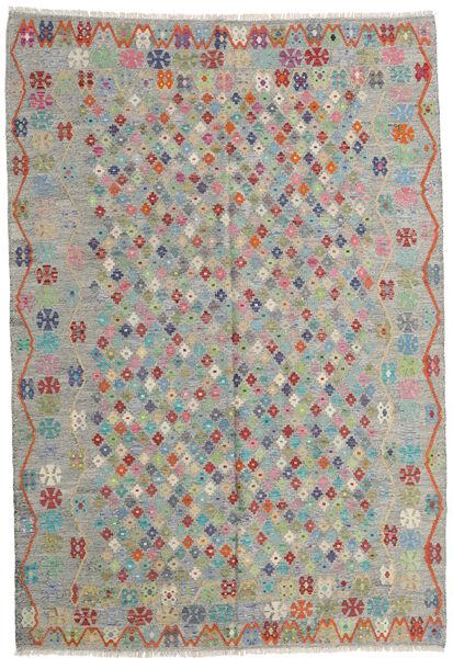 Kilim Afegão Old Style Tapete 206X299 Oriental Tecidos À Mão Cinzento Claro/Castanho Claro (Lã, Afeganistão)