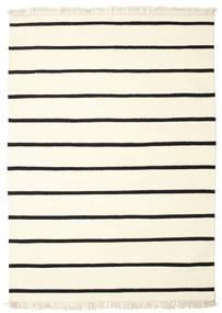 Dhurrie Stripe - Branco/Preto Tapete 140X200 Moderno Tecidos À Mão Bege/Branco/Creme (Lã, Índia)