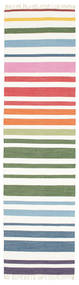 Rainbow Stripe - Branco Tapete 80X300 Moderno Tecidos À Mão Tapete Passadeira Branco/Creme (Algodão, Índia)