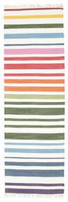 Rainbow Stripe - Branco Tapete 80X250 Moderno Tecidos À Mão Tapete Passadeira Bege/Branco/Creme (Algodão, Índia)