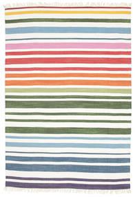 Rainbow Stripe - Branco Tapete 160X230 Moderno Tecidos À Mão Branco/Creme (Algodão, Índia)