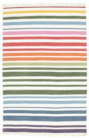 Rainbow Stripe - Branco Tapete 140X200 Moderno Tecidos À Mão Branco/Creme/Bege (Algodão, Índia)