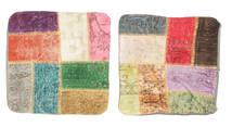 Patchwork Almofadas Tapete 50X50 Oriental Feito A Mão Quadrado Bege/Cinza Escuro (Lã, Turquia)