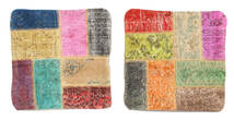 Patchwork Almofadas Tapete 50X50 Oriental Feito A Mão Quadrado Bege Escuro/Luz Rosa (Lã, Turquia)