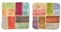 Patchwork Almofadas Tapete 50X50 Oriental Feito A Mão Quadrado Bege Escuro/Castanho (Lã, Turquia)
