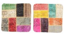 Patchwork Almofadas Tapete 50X50 Oriental Feito A Mão Quadrado Castanho Claro/Luz Rosa (Lã, Turquia)