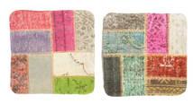 Patchwork Almofadas Tapete 50X50 Oriental Feito A Mão Quadrado Cinzento Claro/Verde Claro (Lã, Turquia)