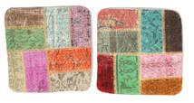 Patchwork Almofadas Tapete 50X50 Oriental Feito A Mão Quadrado Bege Escuro/Verde Pastel (Lã, Turquia)