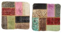 Patchwork Almofadas Tapete 50X50 Oriental Feito A Mão Quadrado Verde Claro/Cinza Escuro (Lã, Turquia)
