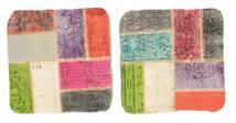 Patchwork Almofadas Tapete 50X50 Oriental Feito A Mão Quadrado Verde Claro/Bege (Lã, Turquia)