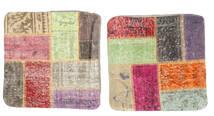 Patchwork Almofadas Tapete 50X50 Oriental Feito A Mão Quadrado Bege/Castanho Escuro (Lã, Turquia)