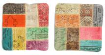 Patchwork Almofadas Tapete 50X50 Oriental Feito A Mão Quadrado Verde Escuro/Bege (Lã, Turquia)