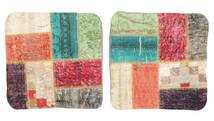 Patchwork Almofadas Tapete 50X50 Oriental Feito A Mão Quadrado Branco/Creme/Preto (Lã, Turquia)