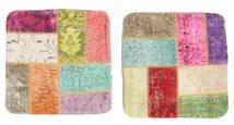 Patchwork Almofadas Tapete 50X50 Oriental Feito A Mão Quadrado Branco/Creme/Castanho Alaranjado (Lã, Turquia)