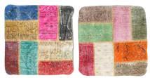 Patchwork Almofadas Tapete 50X50 Oriental Feito A Mão Quadrado Bege/Castanho Alaranjado (Lã, Turquia)