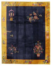 China Antigo: Art Deco 1920 Tapete 280X355 Oriental Feito A Mão Preto/Cinza Escuro Grande (Lã, China)
