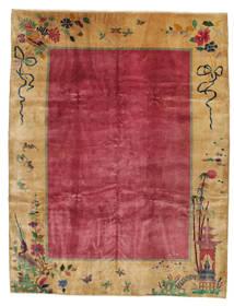 China Antigo: Art Deco 1920 Tapete 275X360 Oriental Feito A Mão Castanho Claro/Vermelho/Vermelho Escuro Grande (Lã, China)