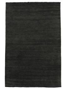 Handloom Fringes - Preto/Cinzento Tapete 300X400 Moderno Cinza Escuro Grande (Lã, Índia)