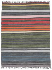 Rainbow Stripe - Cinzento Tapete 250X300 Moderno Tecidos À Mão Cinza Escuro/Verde Azeitona Grande (Algodão, Índia)