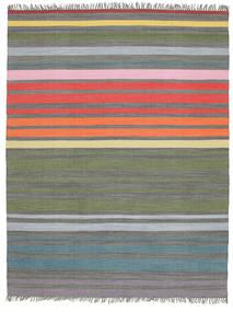 Rainbow Stripe - Cinzento Tapete 200X250 Moderno Tecidos À Mão Cinzento Claro/Verde Azeitona (Algodão, Índia)