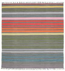 Rainbow Stripe - Cinzento Tapete 200X200 Moderno Tecidos À Mão Quadrado Cinza Escuro/Cinzento Claro (Algodão, Índia)