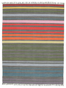 Rainbow Stripe - Cinzento Tapete 140X200 Moderno Tecidos À Mão Cinza Escuro/Verde Azeitona (Algodão, Índia)