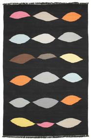 Leaves - Preto Tapete 190X290 Moderno Tecidos À Mão Preto (Lã, Índia)
