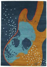 From Obscure Rythms Tapete 135X190 Moderno Feito A Mão Azul Escuro/Castanho (Lã, Índia)
